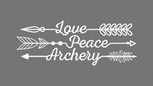 Bogenschießen T-Shirt Love Peace Archery